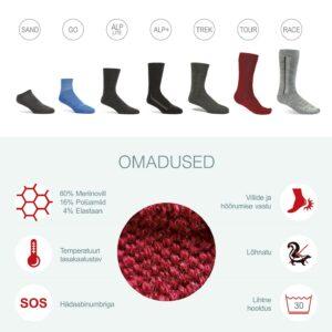 meriinovillaste sokkide omadused