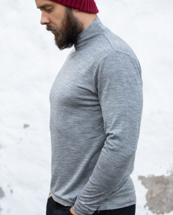 Merino long sleeve shirt, crew neck, melange gray