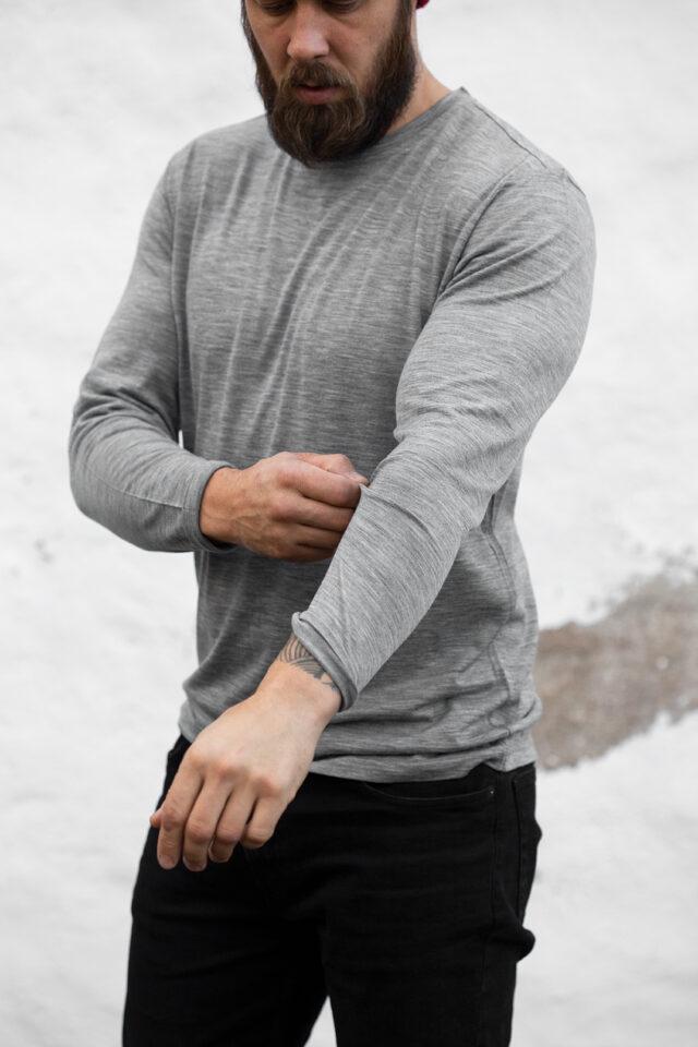 Merino long sleeve shirt, crew neck, melange gray